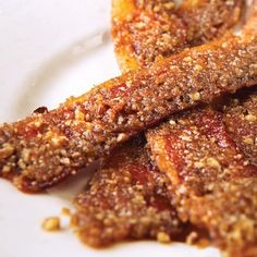 Praline bacon from Elizabeth's Restaurant is one of those recipes designed to make your taste buds celebrate.