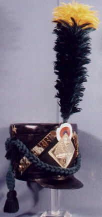 Replica 1806 French Army Voltegeur Company shako with black and yellow-colored plume.