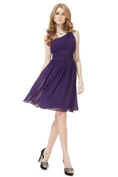Purple One Shoulder Ruched Bust Short Bridesmaids Dress - OASAP.com