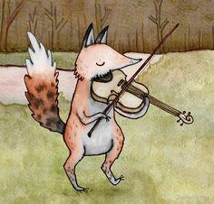 """""""Violin Fox"""" by Sophie Corrigan   Redbubble"""