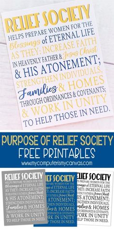 FREE PRINTABLE Purpose of Relief Society, LDS Printable - handout, RS Bullentin Board #mycomputerismycanvas