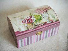 Painted box and sealed with a clear matte gel finish, like Mod Podge. So pretty.