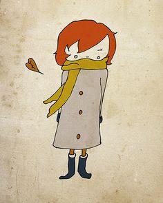 Autumn Girl  Illustration Print by NanLawson on Etsy, $10.00