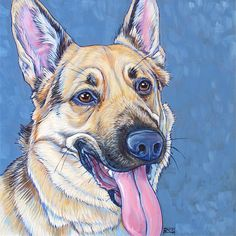 """10"""" x 10"""" Custom Pet Portrait Acrylic Painting on Canvas of One Dog, Cat, or Other Animal Ready to Hang OOAK Dog Art from your Photos by Pet Portraits by Bethany. German Shepherd Sample."""