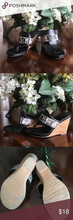 "🔥Calvin Klein Size 8.5 Wedges🔥 Black with snake print and silver Calvin Klein signature buckle, Heel 3"", like new Calvin Klein Shoes Wedges"