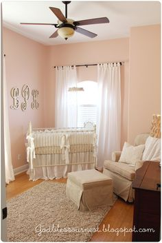 "I know this is a nursery, but these colors are what I like in general and I think they would work for a lot of rooms. I might cut the paint color (Sherwin Williams ""Romance"") with 25%-50% ivory to tone it down a bit."