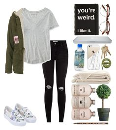 """""""Pink & Green """" by kaleyyy00 ❤ liked on Polyvore featuring Urbanears, Casetify, Caran D'Ache, Aéropostale and Topshop"""