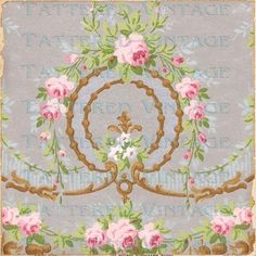 Silver Wreath Instant Download no417 Old French by tatteredvintage, $5.75
