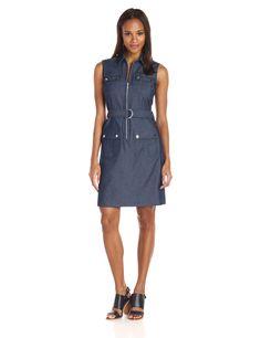 NWT Sharagano Chambray Blue Sleeveless Denim Cargo Shirt Dress Cotton Blend 10
