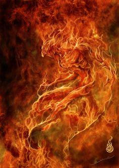 "Elements Fire:  ""#Fire Elemental,"" by javi-ure, at deviantART."