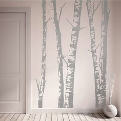 silver birch trees vinyl wall sticker by oakdene designs | notonthehighstreet.com ~£32 diff colours and sizes available