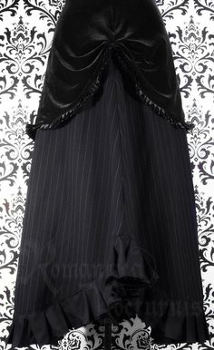Victorian pinstripe and velvet skirt with by RomanticaNocturnis