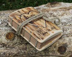 Journal bois rustique personnalisé avec coeur et noms point copte