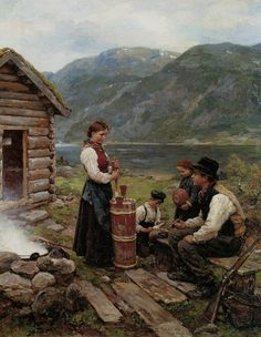 Family In A Norwegian Fjord Landscape Jahn Ekenaes - Norwegian) Great Paintings, Beautiful Paintings, Landscape Paintings, Norway Viking, Art Folder, Scandinavian Art, Scandinavian Paintings, Fan Art, Traditional Art