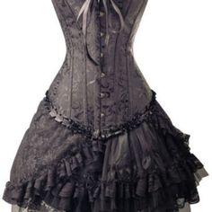 Free shipping! gothic black corset top & lolita punk skirt club wear
