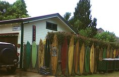 vintage surf boards up-cycled to re-enforce wall of North Shore B, Kauai, Hawaii, picCredit: T. Sloane