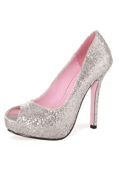 Silver Ella Glitter Pump