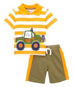 Love this Orange & White Stripe 'Safari Tour' Tee & Shorts - Infant & Toddler by BOYZ WEAR on #zulily! #zulilyfinds