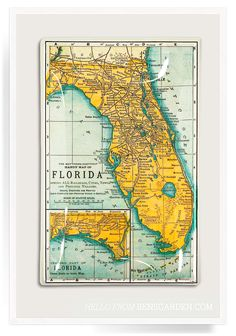 Florida Map Decoupage Glass Tray by Ben's Garden. #bensgarden #decoupage #map #florida