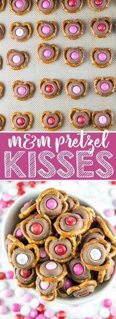 M&M Pretzel Kisses: a pretzel, a Hershey kiss, and a fun colored M&M -- so easy, but the bite-sized sweet and salty combination is irresistible.  Match M&M colors to holidays for a fun school treat! #dessert #valentines via @bnsnbrnrbakery
