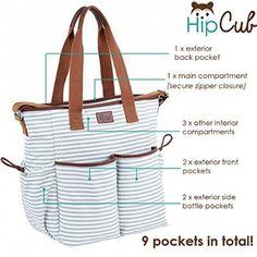 Diaper Bag by Hip Cub - Weekender Tote - Designer Canvas W/ Cute Baby Change Pad