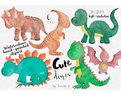 Dinosaur Clipart Watercolour Clipart Cute Clipart от ATArtDigital
