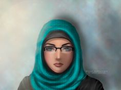 Painting Hijab BS03 With Glasses