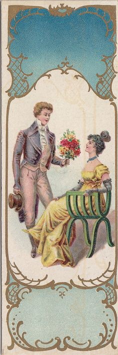 https://flic.kr/p/oBJNDn | chromo bookmark bougies bollinckx  - anderlecht   - man presenting seated woman with flowers