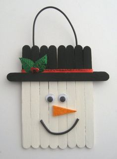 Cindy deRosier: My Creative Life: Craft Stick Snowman Snowman Party, Christmas Snowman, Christmas Crafts, Christmas Ornaments, Rock Crafts, Craft Stick Crafts, Crafts For Kids, Arts And Crafts, Craft Sticks
