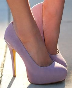 Lavender pumps and they don't have that ugly elevating block on the bottom.