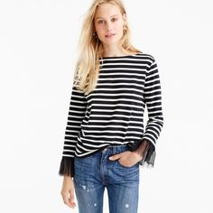 Tulle Cuffed Stripe T-Shirt : Women's Tees | J.Crew