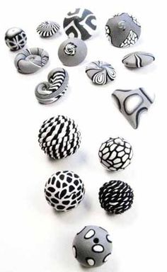 Monochromatic polymer clay beads