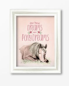 Pony Dreams Equestrian Typography Print - The Painting Pony - great decor piece for the horse lover little girl's bedroom!