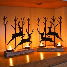Pair Of Leaping Reindeer Tealight Decorations
