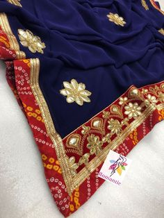 Traditional Indian gota pati saree georgette Bandhani border wedding sari blouse #Handmade #Saree