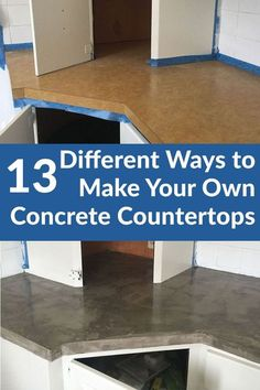 Different Ways to Make Your Own Concrete Kitchen Countertops Ready to redo your kitchen? Concrete countertops are a great budget-friendly option.Ready to redo your kitchen? Concrete countertops are a great budget-friendly option. Cement Countertops, Outdoor Kitchen Countertops, Kitchen Countertop Materials, Kitchen Countertop Redo, Cheap Countertops, Kitchen Cabinets, Home Renovation, Home Remodeling, Kitchen Remodeling