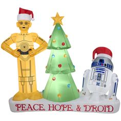 NEED THIS MORE THAN ANYONE COULD UNDERSTAND. C3P0 and R2D2 peace hope and droid Christmas inflatable