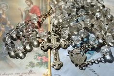 Antique Rosary with silver cross Christian by ForTheLoveOfFrance, $48.00