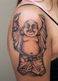 0b3768a7b Download Free Women Bicep Decorated With Laughing Buddha Tattoo In Dancing  Mood to use and take