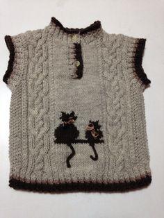 Halamın torunuma yaptım Baby Knitting Patterns, Baby Sweater Knitting Pattern, Baby Boy Knitting, Knitting For Kids, Knitting Stitches, Free Knitting, Toddler Vest, Toddler Sweater, Knitted Baby Clothes