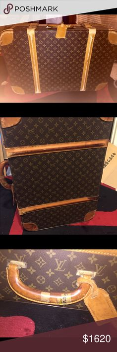 Auth. Louis Vuitton vintage suitcase This beautiful suitcase has wear, and dirt and traveling stickers, but does it make it even that more chic? Yes! Love it, won't touch it. Interior is a cream cotton with two small side elastic cinched slip pockets. Classic monogram with zip around closure. Top of suitcase is semi soft, the main (85%) is structured for durability. Two leather strap buckle closures with leather handle and bag tag. I will get better pictures and update, the lighting wasn't…