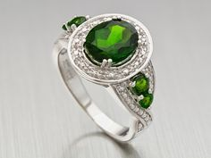 Chrome #diopside and white #topaz #ring