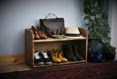 Low wooden shoe rack & shoe bench 70 wide x 42 H x 27 deep cm, modern rustic, natural sustainable dark wood, custom handmade in Somerset UK Farmhouse Furniture, Wood Furniture, Bedroom Furniture, Furniture Ideas, Hat Storage, Storage Shelves, Shelf, Wooden Shoe Racks, Shoe Rack Door
