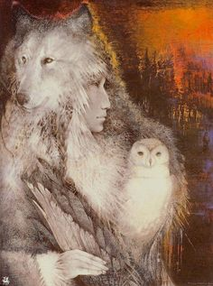 Wolf and owl...this is just one of many prints in our home as they represent two of the animals on our totems. Artwork by Susan Seddon Boulet.