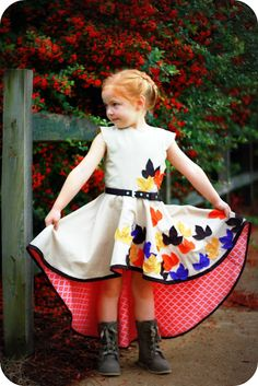 How to sew a circle skirt  ||  adorable Fall dress!