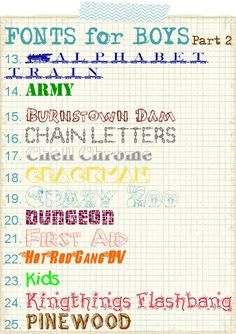 Fonts for boys part 2 (love the ARMY font; would be good for Toy Story layouts, too)