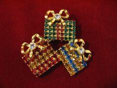 Vintage Rhinestone Christmas Presents Brooch