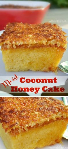 Coconut Honey Cake is a MUST have recipe Quick easy Cake recipe with a divine topping to enjoy in under an hour or slightly longer if serving cold easycake coconutcake Easy Cake Recipes, Cupcake Recipes, Baking Recipes, Cupcake Cakes, Dessert Recipes, Honey Cake Recipe Easy, Coconut Cake Easy, Quick Easy Desserts, Cupcakes
