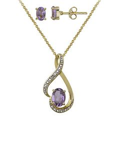 Another great find on #zulily! Amethyst & Diamond Oval Pendant Necklace & Earrings #zulilyfinds