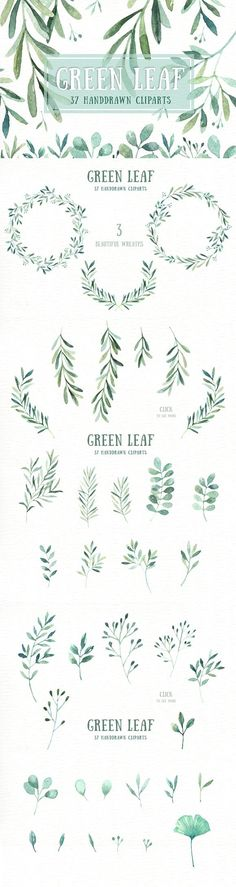 Green Leaf Watercolor clipart. Wedding Card Templates